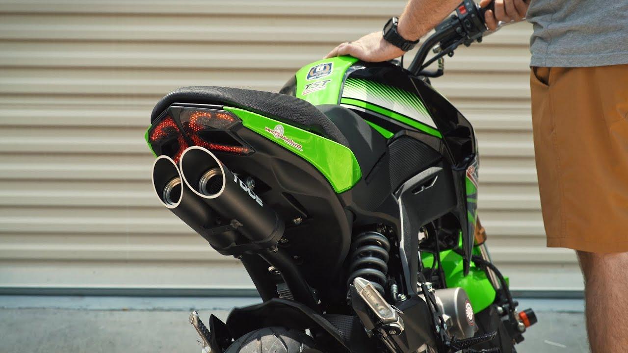 kawasaki z125 toce full exhaust sound