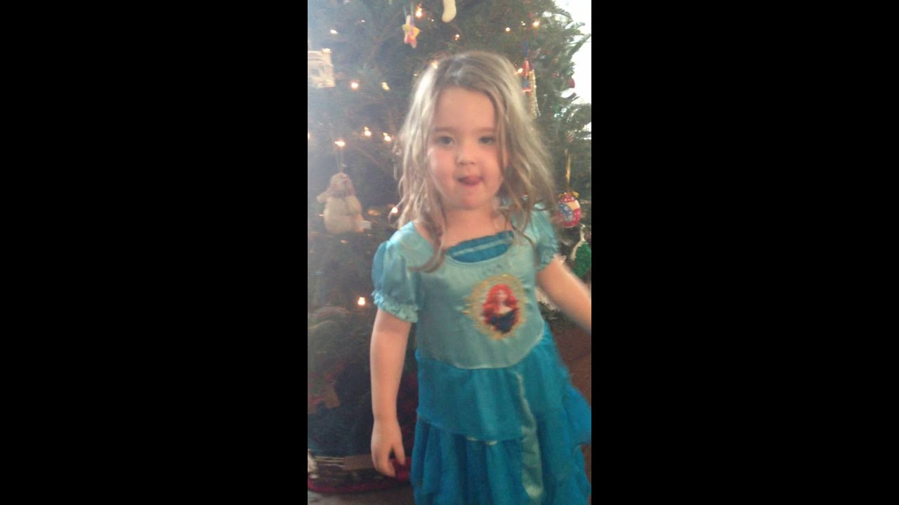 So Cute Adorable 3 Year Old Little Girl Singing Christmas -7526