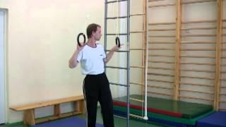 Упоры на гимнастических кольцах(Здесь рассказывается о том, как выполняются упор и упор углом на гимнастических кольцах. Исполняет и коммен..., 2013-06-18T18:23:19.000Z)
