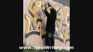 Mr Wiggles graffiti in Swiss with two Swiss Writers