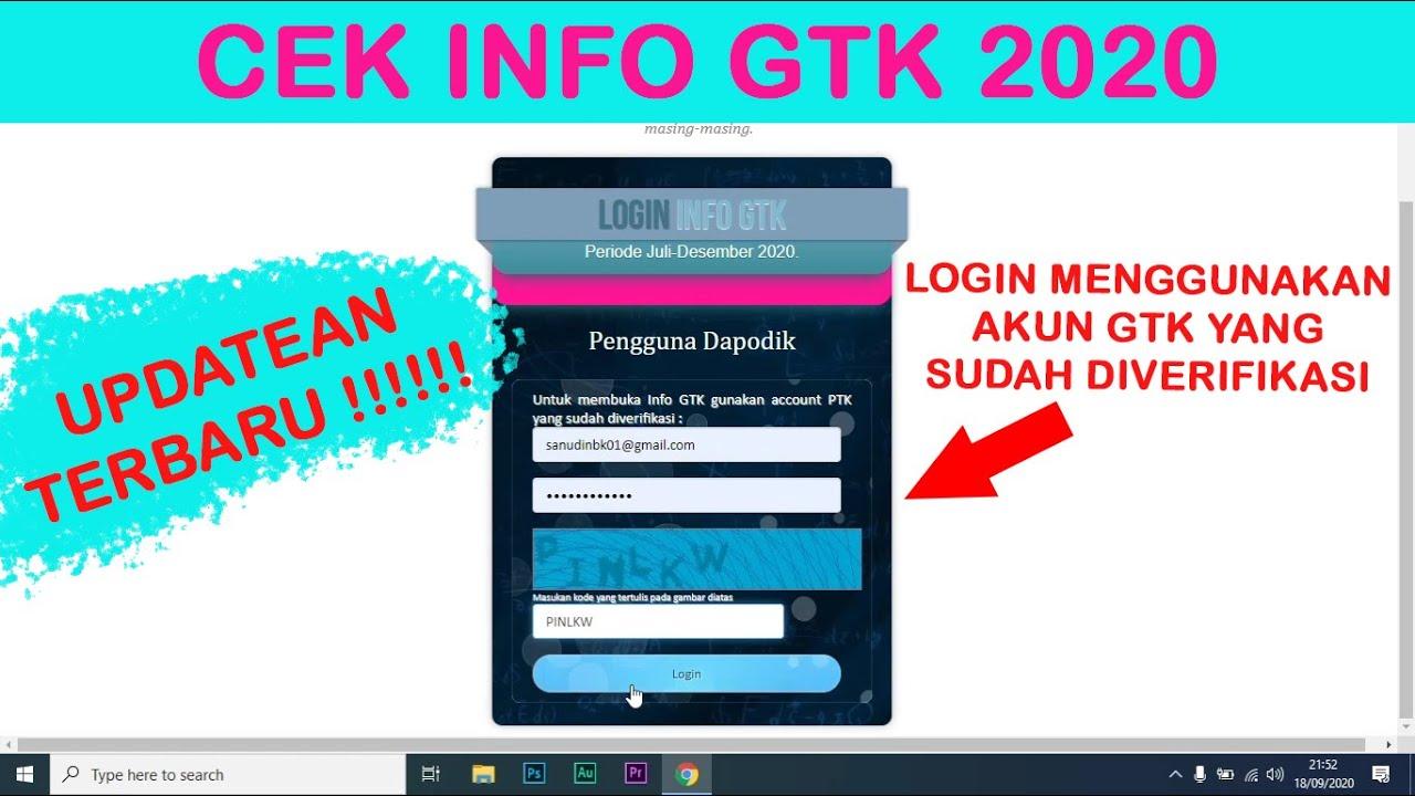 Cara Cek Info Gtk Dapodik 2021 Youtube