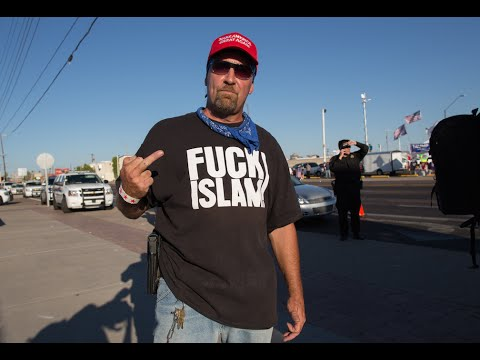 """FUCK ISLAM"" shirt Protester with Open Carry argues with Trump Protesters"
