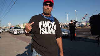 """""""FUCK ISLAM"""" shirt Protester with Open Carry argues with Trump Protesters"""