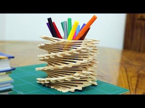 Ice Cream Stick Pen Holder Easy - Ice cream Sticks Crafts Ideas
