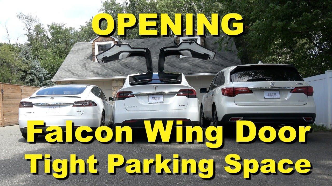 Tesla model x falcon wing door in tight parking spaces - Doors for tight spaces ...