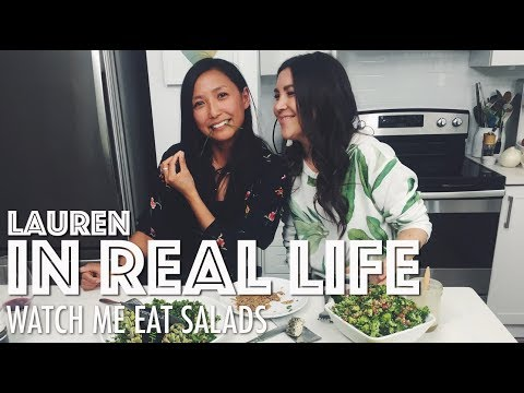 WATCH ME EAT SALADS // HOT FOR FOOD MUKBANG | Lauren In Real Life