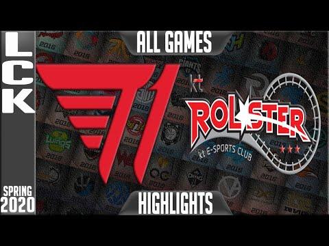 T1 vs KT Highlights ALL GAMES | LCK Spring 2020 W8D3 | T1 vs KT Rolster