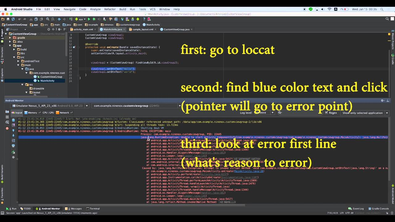 How to check error in android studio