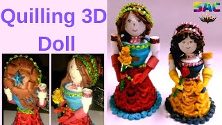 Quilling 3D Barbie Doll in Red Dress