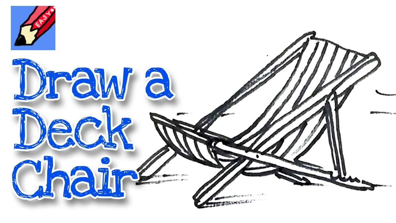 Beach lounge chair drawing - How To Draw A Deck Chair Real Easy For Kids And Beginners