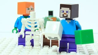 Lego Minecraft Wrong Brick Bodies and Changing Heads Machine Animation