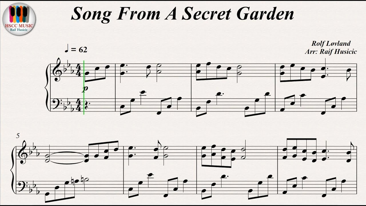 Song From A Secret Garden Rolf Lovland Piano Youtube