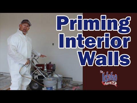 PRIMING AND PAINTING WALLS  Painting New Construction Sheet Rock Walls.  Spraying new drywall