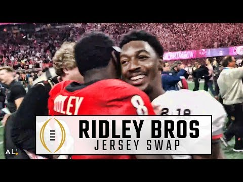 Calvin Ridley, Riley Ridley swap jerseys after Alabama beat Georgia for national title