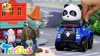 悪者VSキキくん!勝つのはどっちだ?❤パトカー おまわりさん 警察❤トイバス(ToyBus)キッズ おもちゃアニメ