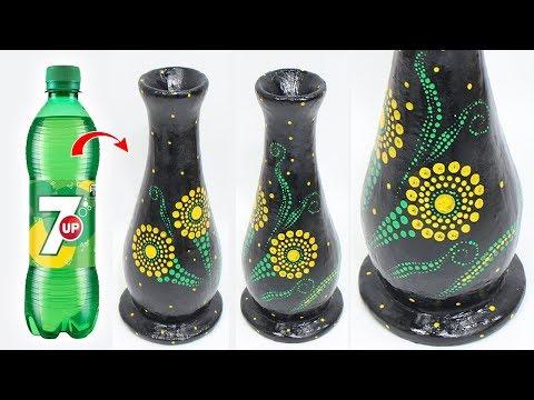Beautiful flower vase making with plastic bottle, Home decorating idea