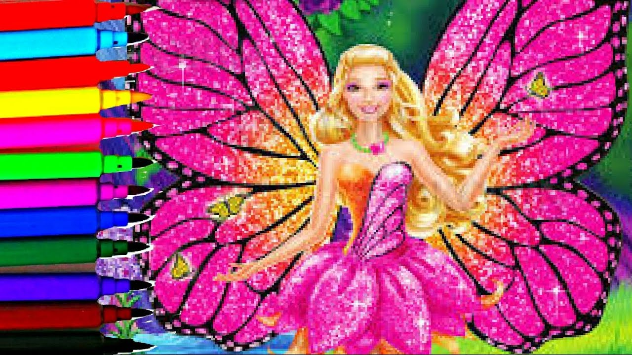 Barbie Mariposa Sparkle Fairy Coloring Book Pages Kids Fun
