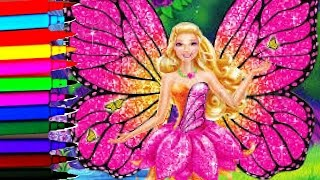 Barbie Mariposa Sparkle Fairy Coloring Book Pages Kids Fun Art Disney Brilliant Color Show