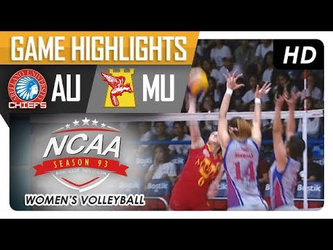 AU vs. MU | NCAA 93 Women's Volleyball | Game Highlights | January 4, 2018