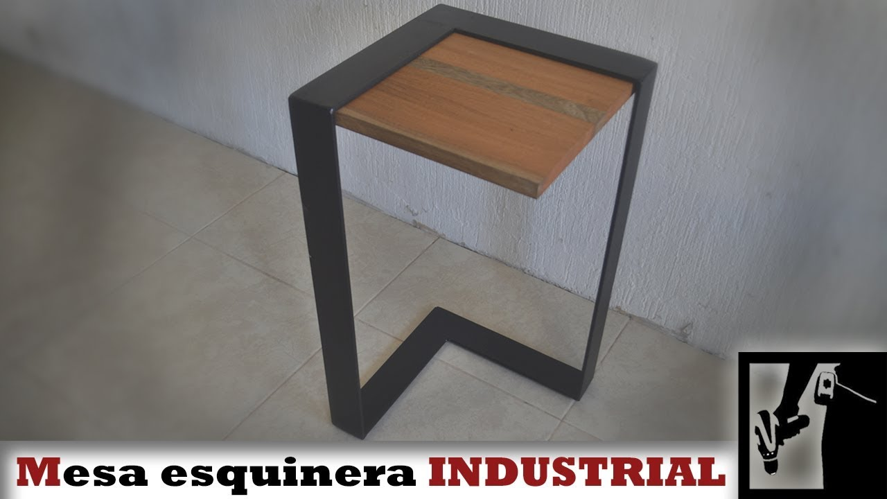 Mesa Esquinera Industrial Metal Y Madera Youtube