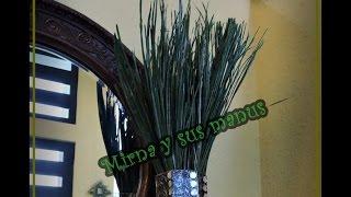 Diy. Hojas de palma pintadas para follaje de jarron. Diy Palm leaves foliage painted to pitcher.