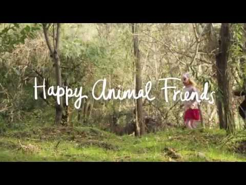 Happy animal friends - Brown Bear, Panda, Cat, Dog, Owl, Tiger, Fox, Rabbit, Koala + Deer.