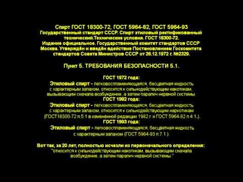 Изменение ГОСТ- ов на этиловый спирт (алкоголь)