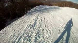 Sugar Mountain, NC Snowboarding 2011 - summit to mid-chair - small jumps