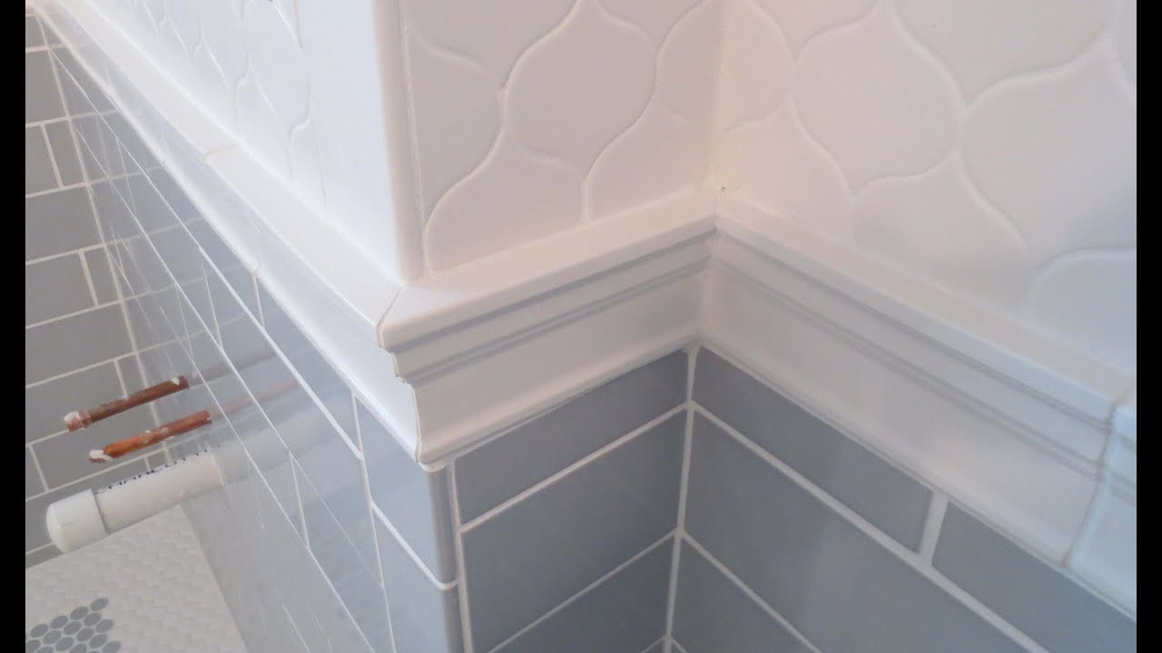 chair rail bathroom. Complete Bathroom Schluter Systems Products, Part 5 Installing Cornice Molding Or Chair Rail - YouTube H