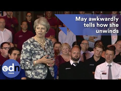 May awkwardly answers question on how she unwinds