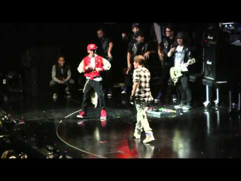 Justin Bieber and Jaden Smith show off their dance moves @ the NYC Jingle Ball on 12-10-2010
