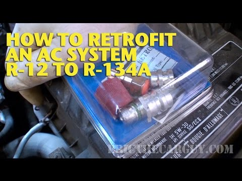 How do you use an R-12 air conditioning recharge kit?