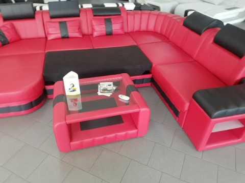 sofa dreams ledersofa bellagio xxl mit schlaffunktion und tisch youtube. Black Bedroom Furniture Sets. Home Design Ideas