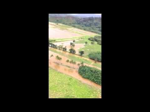 Kuhio Highway flooded on Kauai