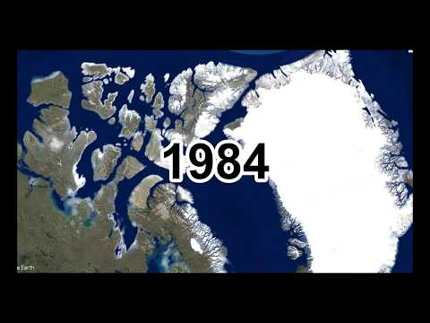 Ice caps melting timelapse, Canada and Greenland Glaciers