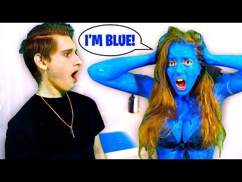 My Girlfriend DYED Her Skin BLUE Prank! *I Freaked*