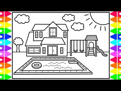How to Draw a House with a Pool for Kids 💚💙💜 House with Pool Drawing and Coloring Pages for Kids