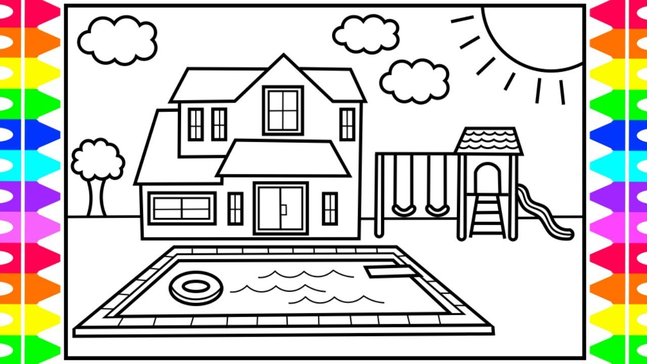 How To Draw A House With A Pool For Kids House With Pool Drawing And Coloring Pages For Kids