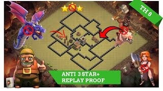 New Town hall( TH8) War Base BOMB TOWER 2017   Anti 3 Star + Replays Proof  Clash of Clans