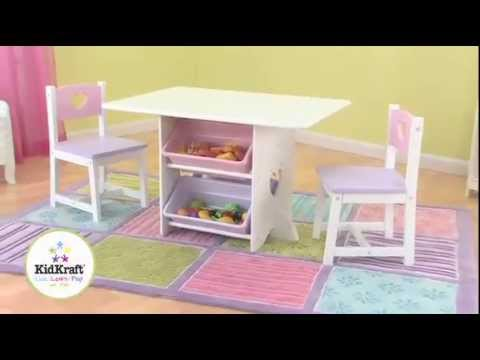 kidkraft 26913 kindertisch und 2 stuehle herzchen pastel holzspielzeug youtube. Black Bedroom Furniture Sets. Home Design Ideas