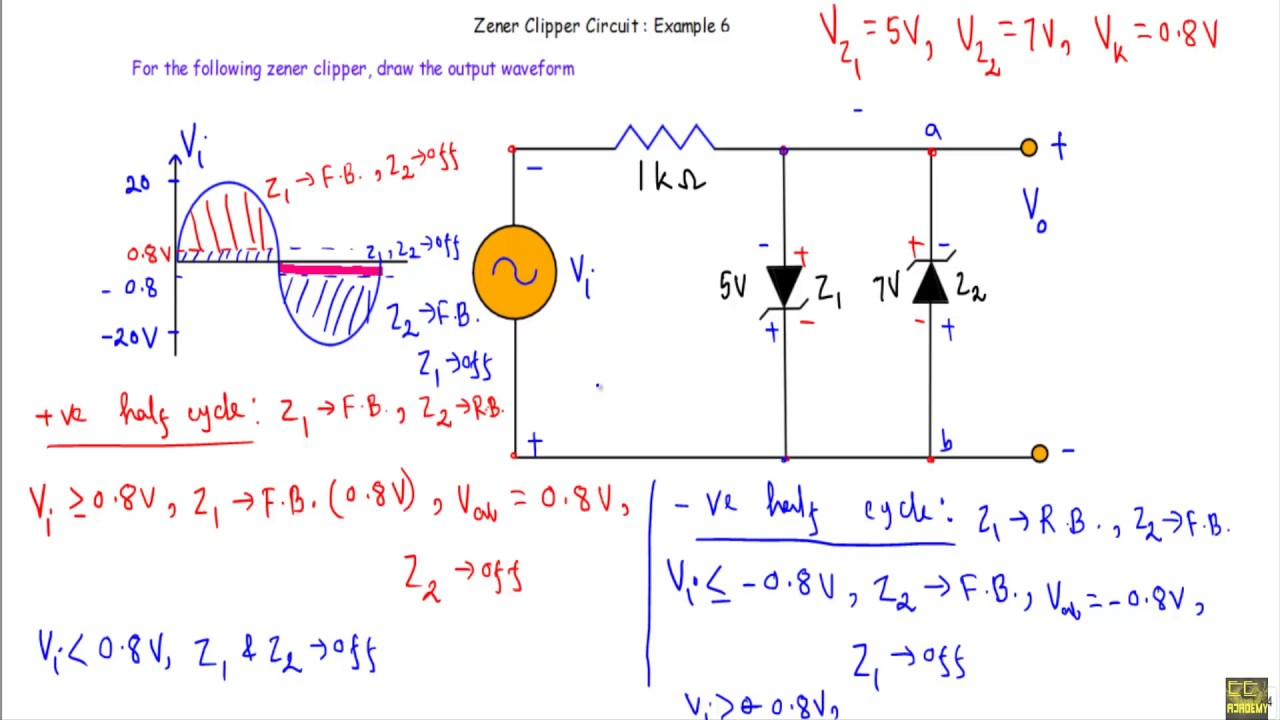 Zener Diode Clipper Circuit : Example 6 (with Simulation