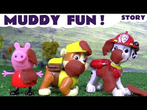 Peppa Pig and Paw Patrol Play Doh Muddy Fun Stop Motion Toy Story with Thomas and Friends Toys