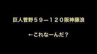 プロ野球 巨人菅野59―120阪神藤浪 ←これなーんだ? はい 戦闘力 体...
