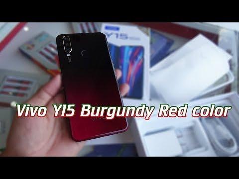 Vivo Y15 Burgundy Red color unboxing