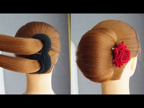 french-roll-hairstyle-with-donut-|-french-roll-hairstyle-with-bun-|-new-french-bun-hairstyle