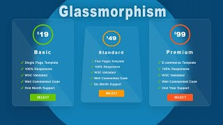 Miniature catégorie - CSS Card Hover Glassmorphism Effect Using HTML and CSS | Glassmorphism Price Card Hover Effect CSS