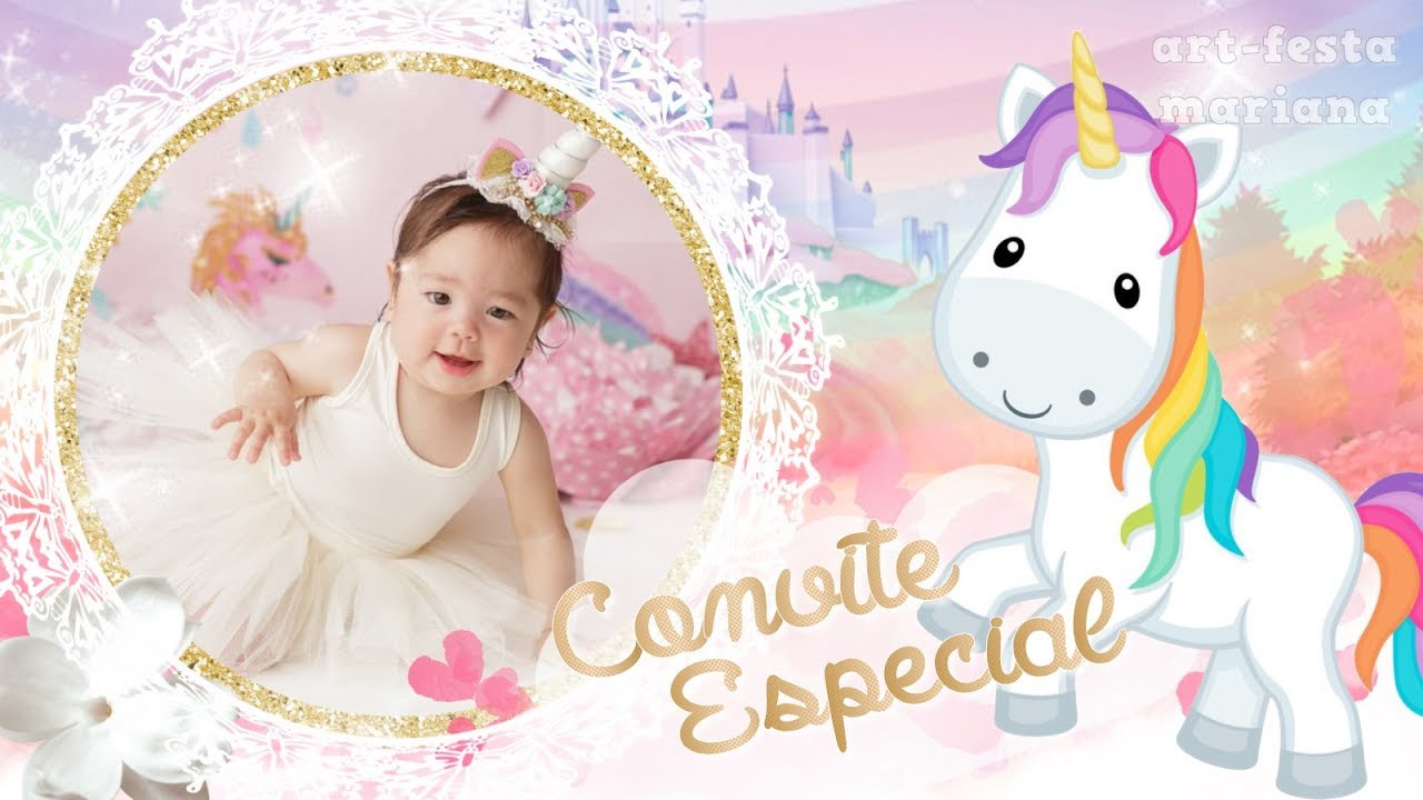 Convite Animado Unicornio Youtube
