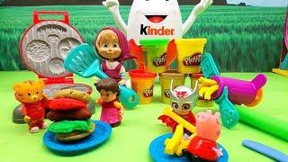 Unboxing  Play Doh Burger in Italiano - Gufetta dei Pj Masks , e Masha e Orso giocano con il pongo