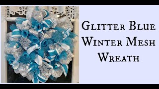Glitter Blue Winter Mesh Wreath