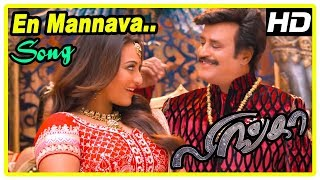 Lingaa Movie Scenes | Sonakshi falls for Rajini | En Mannava Song | Sundarrajan plots against Rajini